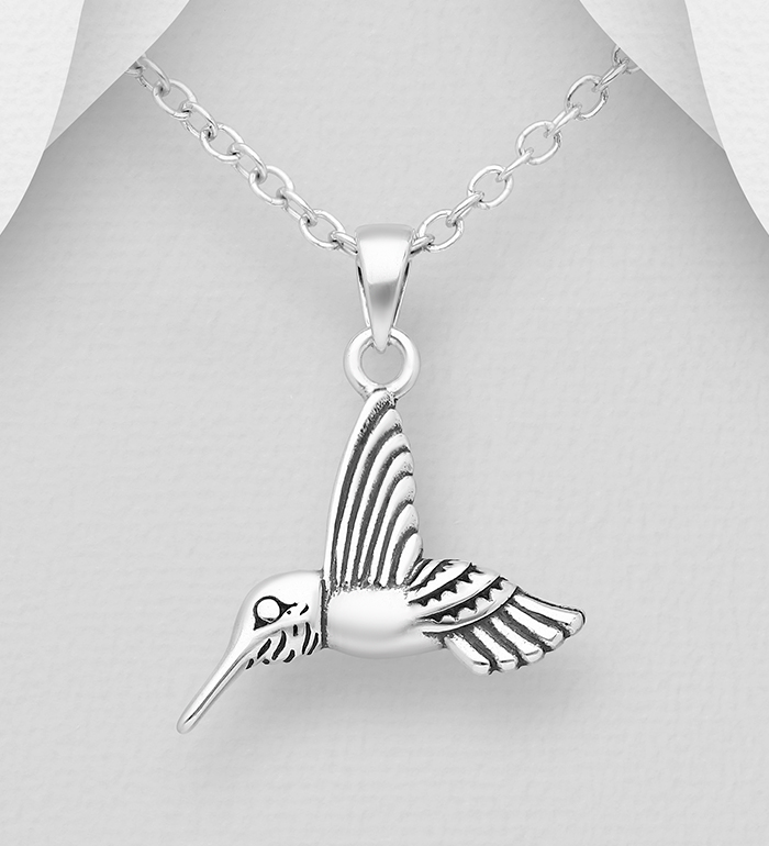 706-13779 - 925 Sterling Silver Oxidized Bird Pendant