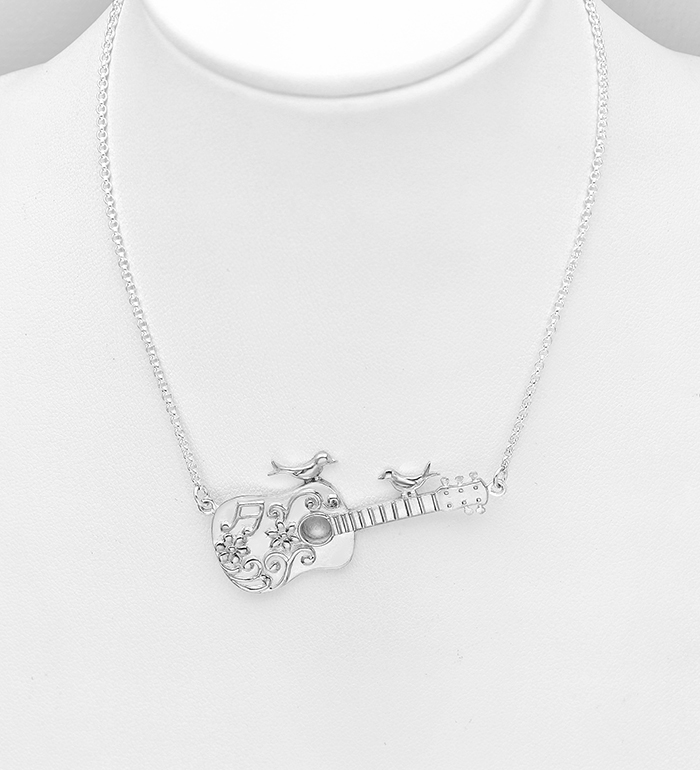 1063-631 - 925 Sterling Silver Birds on Guitar Necklace