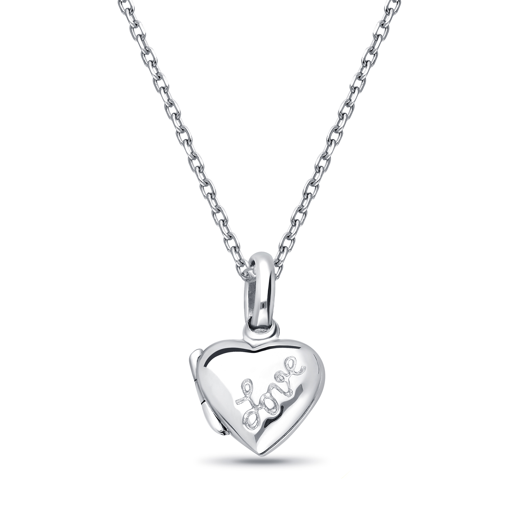 706-14349 - 925 Sterling Silver Heart, Message & Locket  Pendant, Engraved with Love