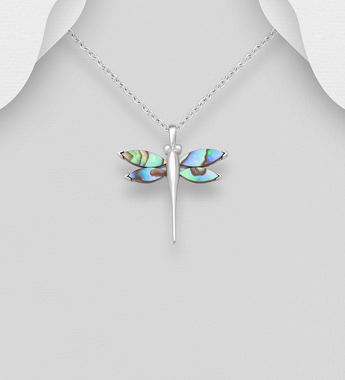 473-1810 - 925 Sterling Silver Dragonfly Pendant Decorated With Resin and Shell