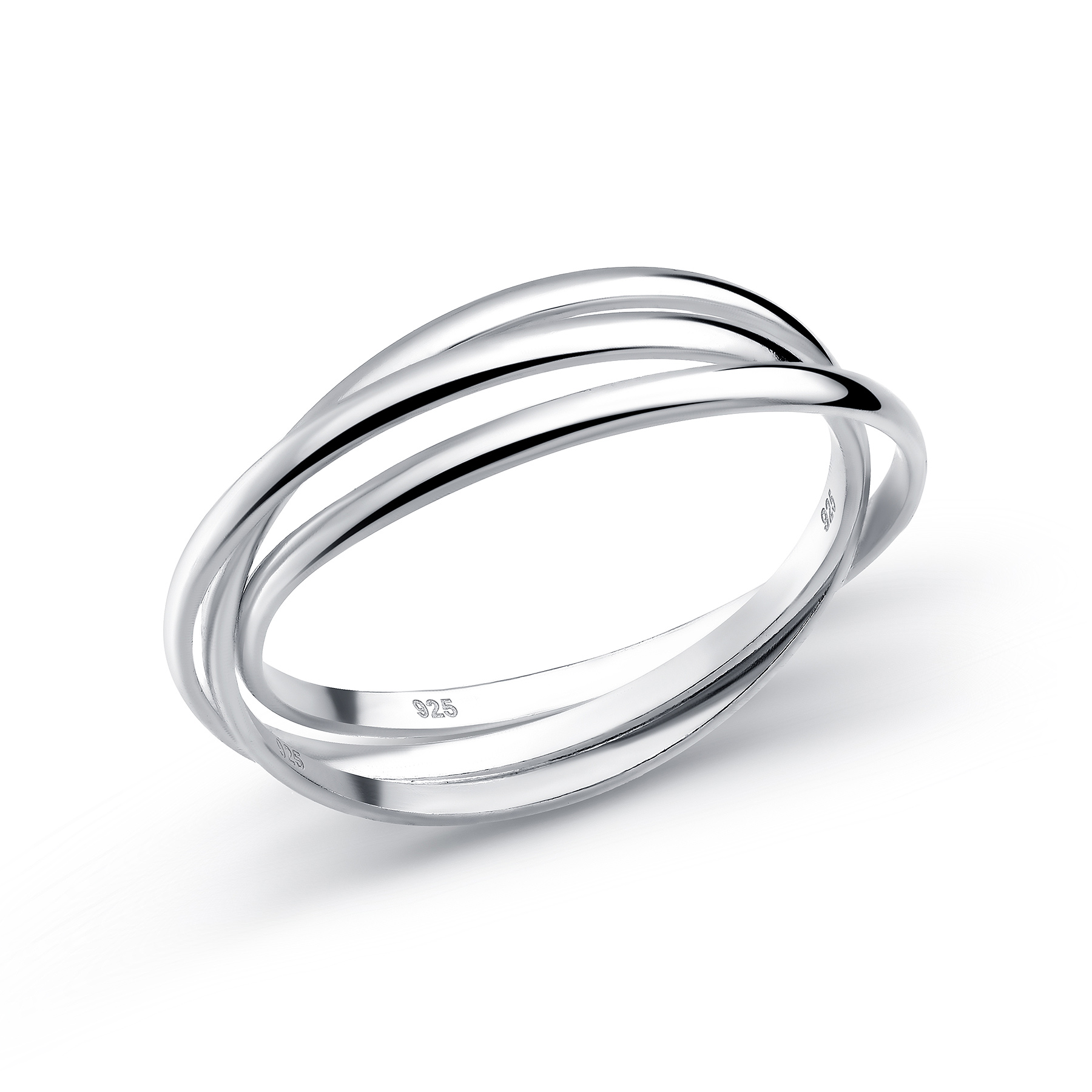 706-15080 - 925 Sterling Silver Triple Band Ring, AKA Russian Wedding ring