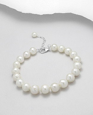 382-2771AAX - 925 Sterling Silver Bracelet Beaded With AA+ Quality Fresh Water Pearls
