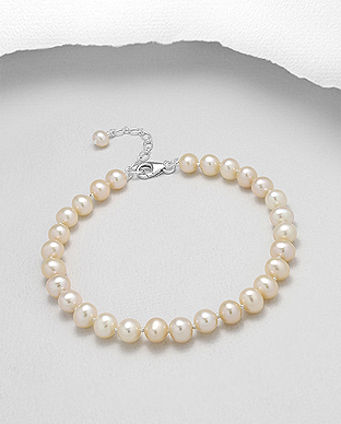 382-2773AAX - 925 Sterling Silver Bracelet Beaded With AA+ Quality Fresh Water Pearls