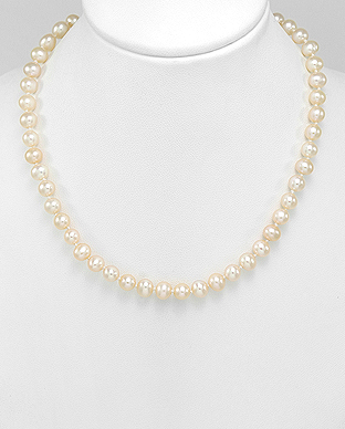 382-2777AAX - 925 Sterling Silver Necklace Beaded With AA+ Quality Fresh Water Pearls