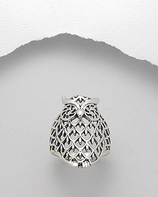706-15610 - 925 Sterling Silver Owl Ring