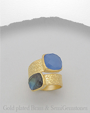 1406-132B - DESIRE by 7k - 18K 0.5 Micron Yellow Gold Over Solid Brass Ring Decorated With Lab-Created Blue Chalcedony