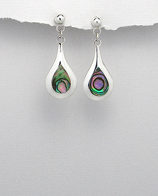 473-1560 - 925 Sterling Silver Push-Back Earrings Decorated With Shell