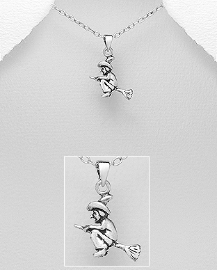 706-15862 - 925 Sterling Silver Witch Pendant