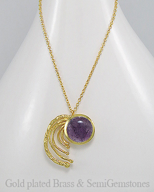 1406-160A - DESIRE by 7k - 18K 0.5 Micron Yellow Gold Over Solid Brass Necklace Decorated With GemStones