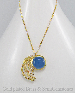 1406-160B - DESIRE by 7k - 18K 0.5 Micron Yellow Gold Over Solid Brass Necklace Decorated With Lab-Created Blue Chalcedony