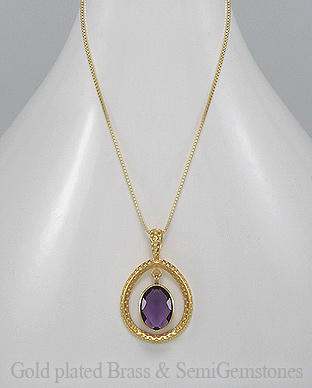1406-171 - DESIRE by 7k - 18K 0.5 Micron Yellow Gold Over Solid Brass Necklace Decorated With Lab-Created Amethyst