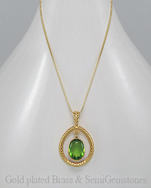 1406-171C - DESIRE by 7k - 18K 0.5 Micron Yellow Gold Over Solid Brass Necklace Decorated With Lab-Created Peridot