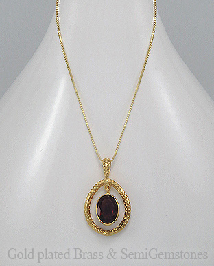 1406-171D - DESIRE by 7k - 18K 0.5 Micron Yellow Gold Over Solid Brass Necklace Decorated With Lab-Created Garnet