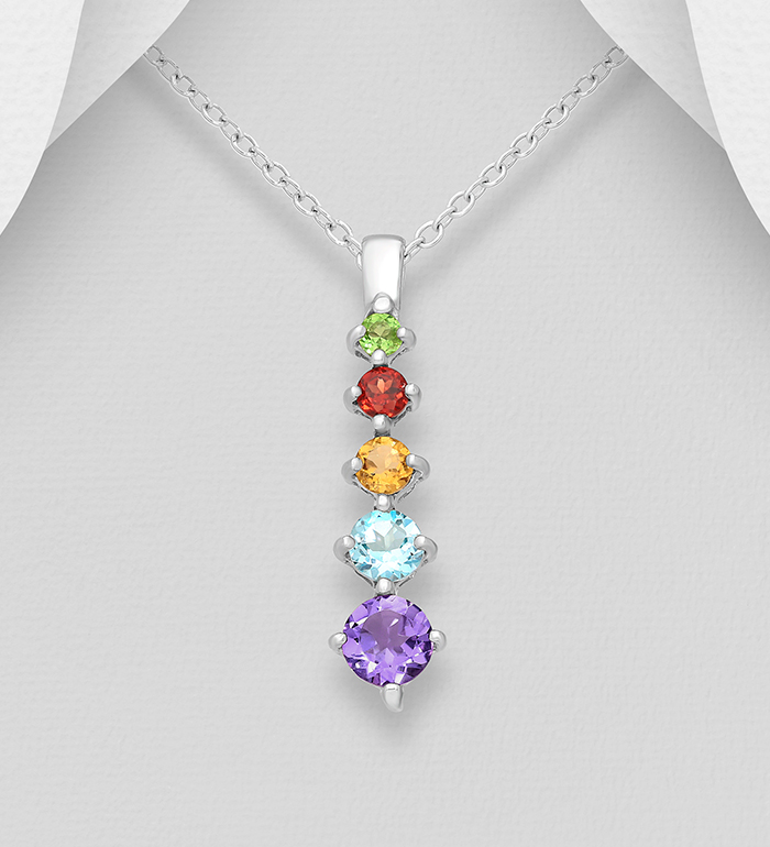 1181-1899 - La Preciada - 925 Sterling Silver Pendant, Decorated with Various Gemstones, Gemstone Colors may Vary.