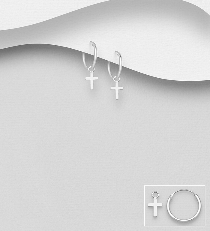 706-16060 - 925 Sterling Silver Hoop and Cross Charm Earrings