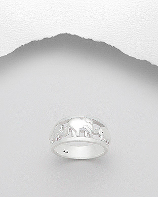 706-16217 - 925 Sterling Silver Elephant Ring