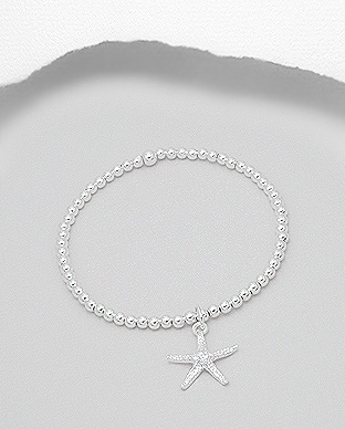 706-16258 - 925 Sterling Silver Ball & Starfish Stretch Bracelet