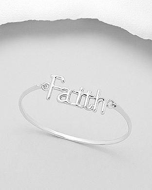 706-16390 - 925 Sterling Silver Bracelet with Message Faith