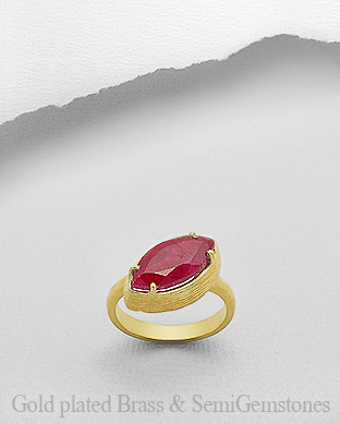 1406-176E - DESIRE by 7k - 18K 0.5 Micron Yellow Gold Over Solid Brass Ring Decorated With GemStone