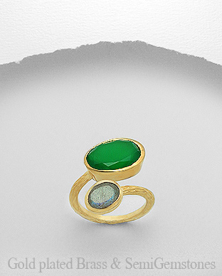 1406-184 - DESIRE by 7k - 18K 0.5 Micron Yellow Gold Over Solid Brass Ring Decorated With Semi GemStones