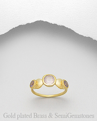 1406-202 - DESIRE by 7k - 18K 0.5 Micron Yellow Gold Over Solid Brass Ring Decorated With Lab-Created Rose Quartz