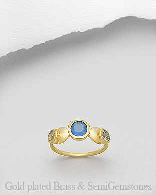 1406-202A - DESIRE by 7k - 18K 0.5 Micron Yellow Gold Over Solid Brass Ring Decorated With Lab-Created Blue Chalcedony and Lab-Created Sky Blue Topaz