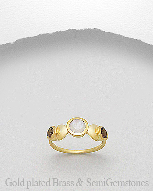 1406-202B - DESIRE by 7k - 18K 0.5 Micron Yellow Gold Over Solid Brass Ring Decorated With Semi GemStones