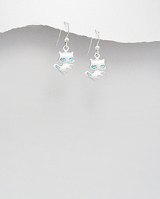 473-2123 - 925 Sterling Silver Cat Hook Earrings Decorated With Shell