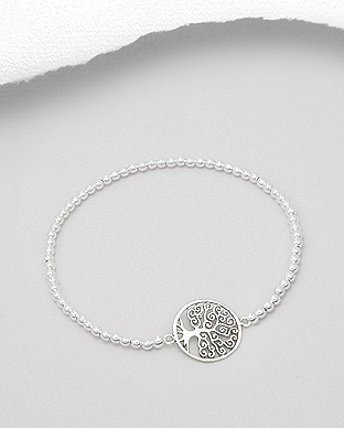 706-16863 - 925 Sterling Silver Tree Of Life Stretch Bracelet