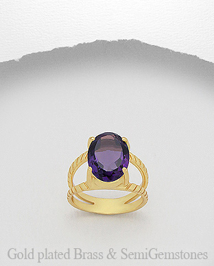 1406-208C - DESIRE by 7k - 18K 0.5 Micron Yellow Gold Over Solid Brass Ring Decorated With Lab-Created Amethyst
