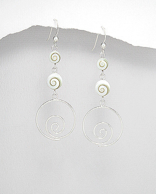 966-501 - 925 Sterling Silver Hook Earrings Decorated With Shiva Shell