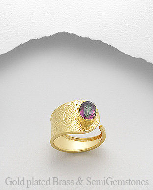 1406-244 - DESIRE by 7k - 18k Yellow Gold, 0.5 Micron Over Solid Brass Ring Decorated With Lab-Created Mystic Topaz