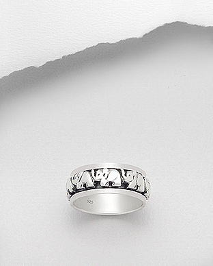 706-17594 - 925 Sterling Silver Elephant Ring