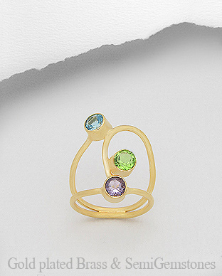1406-249A - DESIRE by 7k - 18k Yellow Gold, 0.5 Micron Over Solid Brass Ring Decorated With Lab-Created Amethyst and Lab-Created Peridot and Lab-Created Sky Blue Topaz