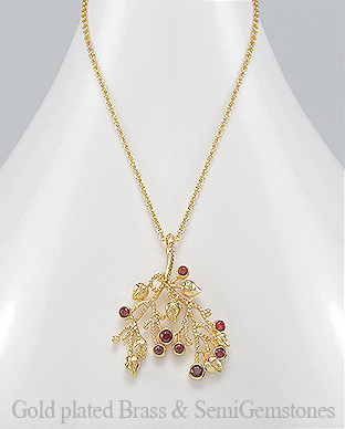 1406-263 - DESIRE by 7k - 18k Yellow Gold, 0.5 Micron Over Solid Brass Leaf Necklace Decorated With GemStones