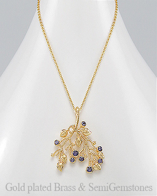 1406-263A - DESIRE by 7k - 18k Yellow Gold, 0.5 Micron Over Solid Brass Leaf Necklace Decorated With GemStones