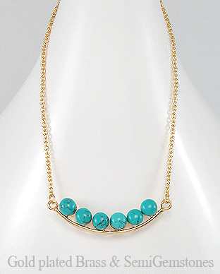 1406-278 - DESIRE by 7k - 18k Yellow Gold, 0.5 Micron Over Solid Brass Necklace Decorated With Semi GemStones