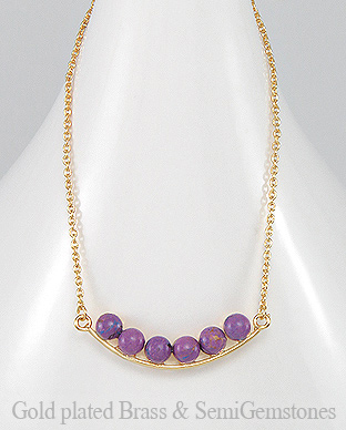 1406-278A - DESIRE by 7k - 18k Yellow Gold, 0.5 Micron Over Solid Brass Necklace Decorated With Semi GemStones
