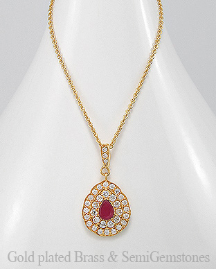 1406-279 - DESIRE by 7k - 18K 0.5 Micron Yellow Gold Over Solid Brass Necklace Decorated With CZ