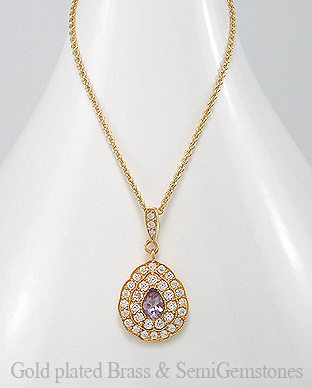 1406-279A - DESIRE by 7k - 18K 0.5 Micron Yellow Gold Over Solid Brass Necklace Decorated With CZ