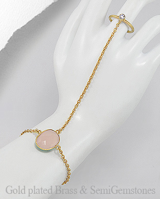 1406-280A - DESIRE by 7k - 18K 0.5 Micron Yellow Gold Over Solid Brass Bracelet Decorated With CZ