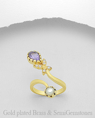 1406-289 - DESIRE by 7k - 18K 0.5 Micron Yellow Gold Over Solid Brass Ring Decorated With CZ and Fresh Water Pearl