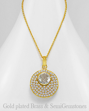 1406-306B - DESIRE by 7k - 18K 0.5 Micron Yellow Gold Over Solid Brass Necklace Decorated With CZ