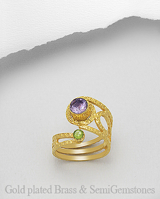 1406-311A - DESIRE by 7k - 18K 0.5 Micron Yellow Gold Over Solid Brass Ring Decorated With GemStones