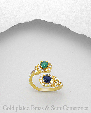 1406-312 - DESIRE by 7k - 18K 0.5 Micron Yellow Gold Over Solid Brass Ring Decorated With CZ