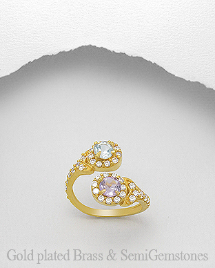 1406-312A - DESIRE by 7k - 18K 0.5 Micron Yellow Gold Over Solid Brass Ring Decorated With CZ