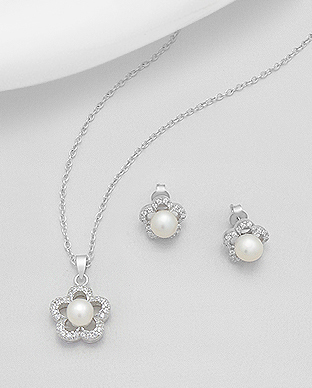 382-3387 - 925 Sterling Silver Flower Earrings And Pendant Decorated With CZ And Fresh Water Pearls