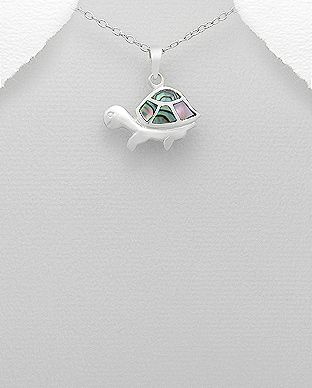 473-2426 - 925 Sterling Silver Turtle Pendant Decorated With Shell