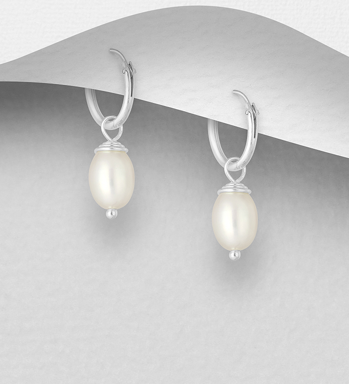 382-3499 - 925 Sterling Silver Hoop Earrings Decorated with Freshwater Pearls