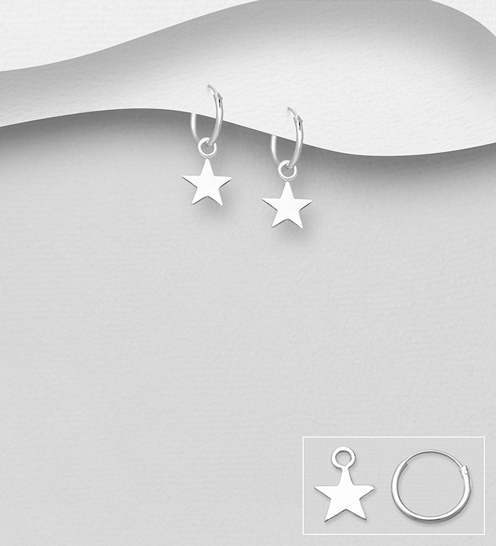 706-19276 - 925 Sterling Silver Star Hoop Earrings